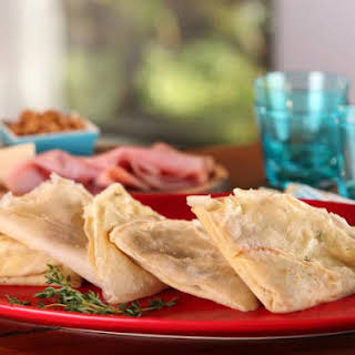 Buckwheat Crepes with Ham, Gruyere and Caramelized Onions.