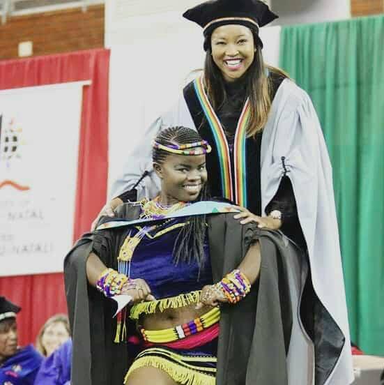 f0e8aa30867 Zandile Shange wore traditional Zulu attire to her graduation at UKZN on  Monday.
