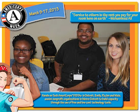Photo: HandsOn Tech AmeriCorps VISTA members Maia Campbell, RaJon Taylor and Emily Rooney of Detroit celebrate AmeriCorps Week.