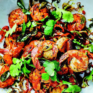 Tiger Shrimp With Lime, Ginger, and Mustard Seeds.