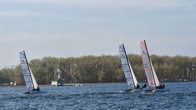 Photo: Nacra 500 advanced race practice - Andria powers up and climbs to windward