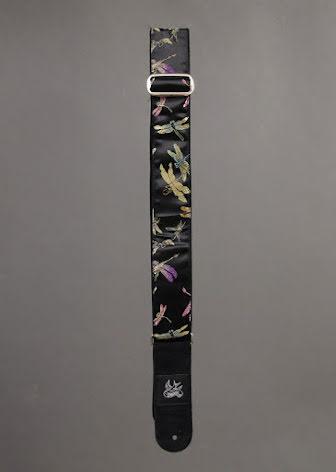 Jaykco Dragonflies on Black Satin on Black Suede