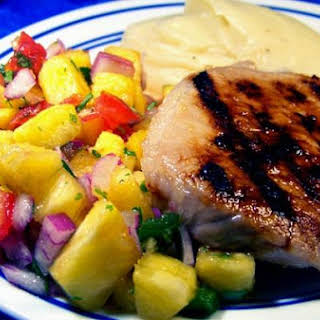 Lime Marinated Pork Chops With Pineapple Salsa.