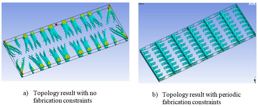 ANSYS Топологическая оптимизация конструкции по результатам теплового расчёта: (а) – без задания технологических ограничений, (b) – с заданием периодических технологических ограничений
