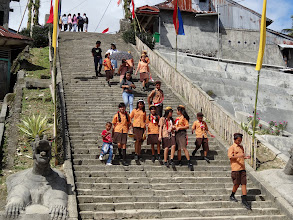 Photo: The same day we arrived (Sunday) before the conference began our coordinator took us to visit a native tribal cultural village. The main tribal cultural village were up these steps.