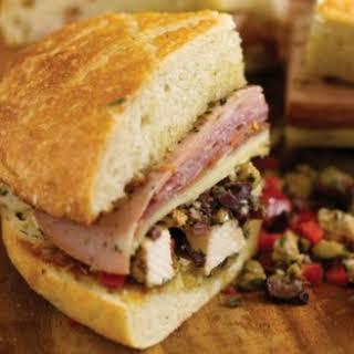 Muffaletta Sandwich with Grilled Chicken.