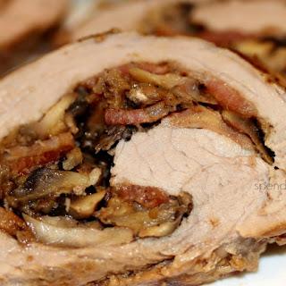 Mushroom Bacon Stuffed Pork Tenderloin.