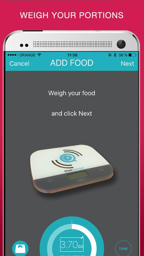 DietSensor food tracking- screenshot