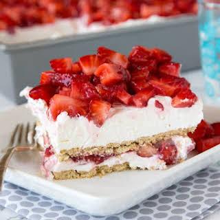 No Bake Strawberry Cheesecake Lasagna.