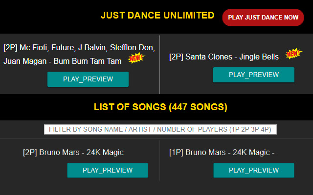 Just Dance songs list (Unlimited Service)