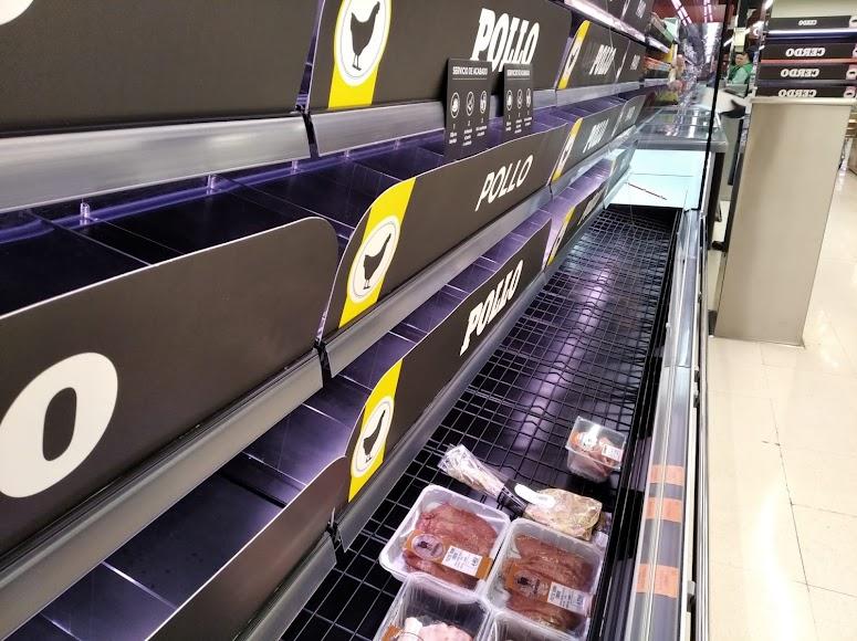 Sin carne en este supermercado.