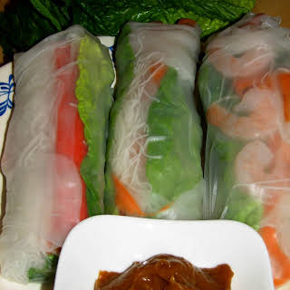 Shrimp Spring Rolls With Peanut Sauce.
