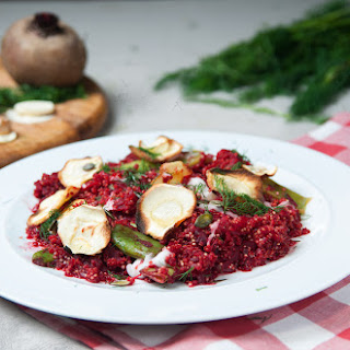 Beetroot & Dill Quinoa Risotto With Parsnip Crisps