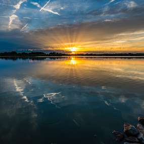 Reflecting rays by Matt Hollamon - Landscapes Sunsets & Sunrises ( clouds, water, reflection, sunset, yankee hill, lake, nikon, nikon d500, tokina, nebraska, rural, sun rays,  )