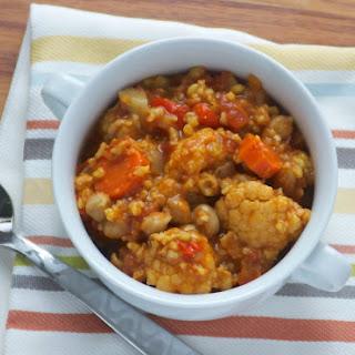 Slow Cooker Cauliflower Mediterranean Stew with Harissa.