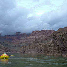 Steve paddling on a cold and rainy day through the Grand Canyon by Adam Lowe - Landscapes Mountains & Hills ( grand canyon 2013, vacation, arizona, places, activities, usa, grand canyon )