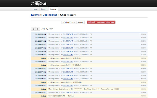 Hipchat History Cleaner