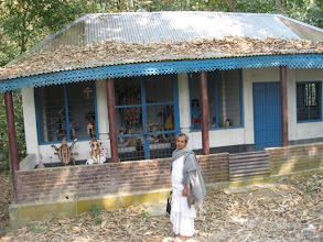 Photo: Sri Mrinalbandhu Brahmachari, incharge of Bakchar Sri- Angan in front of the Kali Temple where Prabhu stayed when he first came to Bakchar