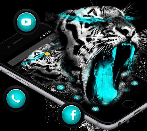 Blue Neon Tiger Roar Theme App Report on Mobile Action - App
