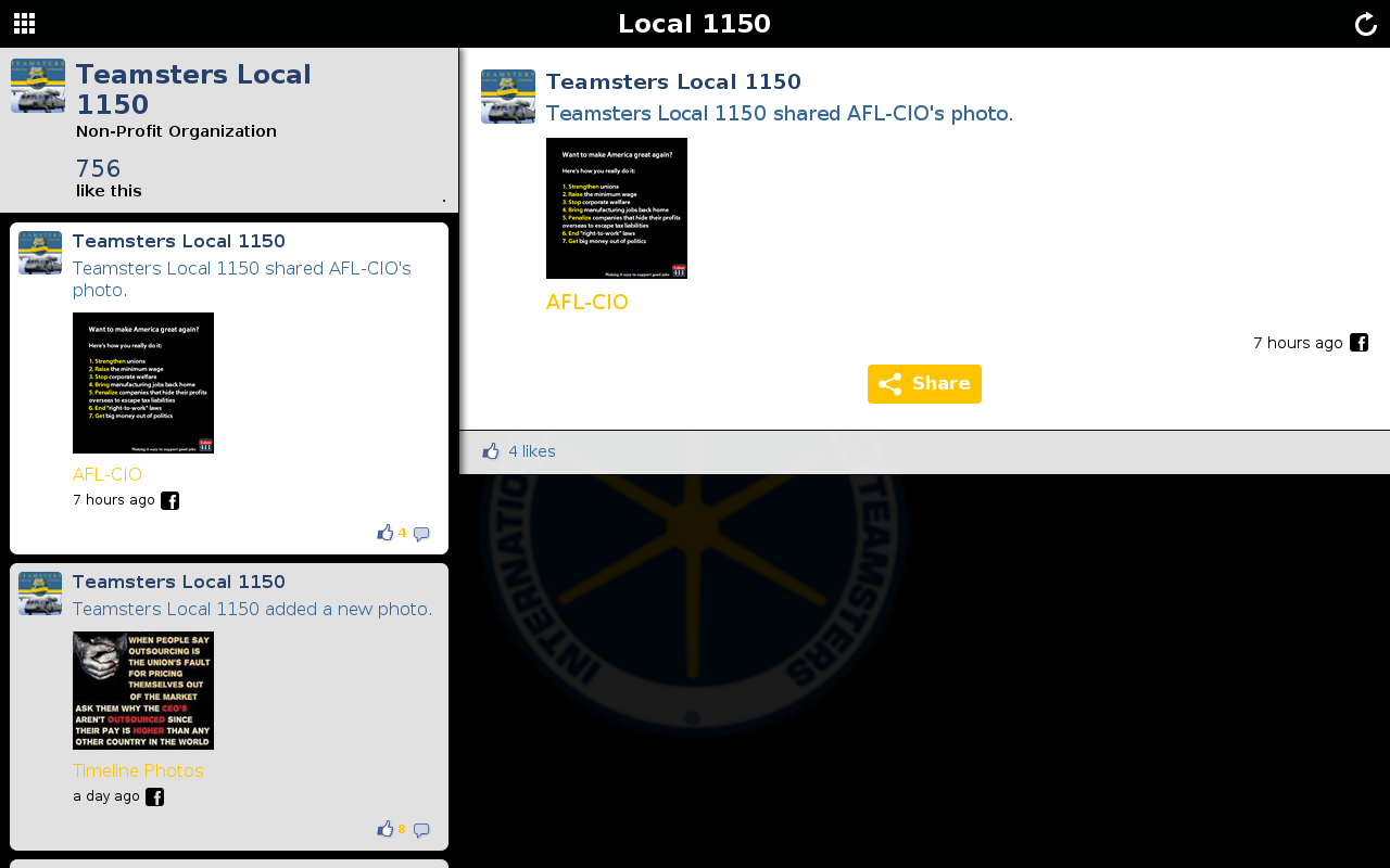 Teamsters Local 1150- screenshot