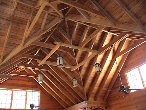 Photo: Exposed beam ceiling in the lodge