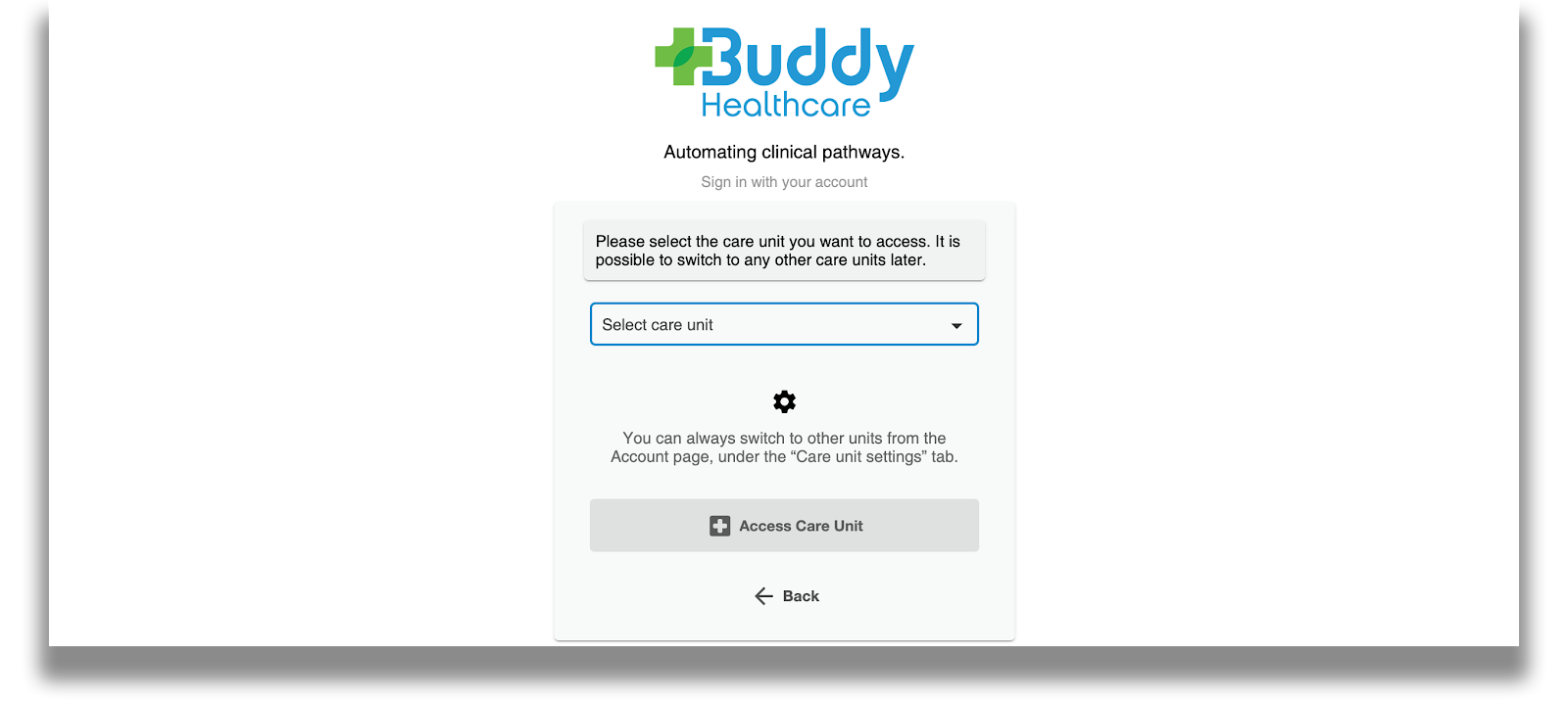 Care unit selection feature update in the care coordination platform