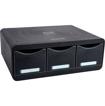Box Exacompta 3lådor svart