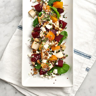 ROASTED BEET, PEAR & WALNUT SALAD.