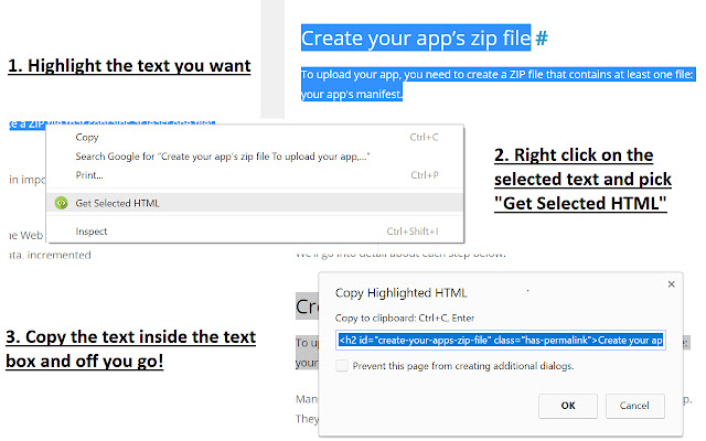 Copy Highlighted HTML