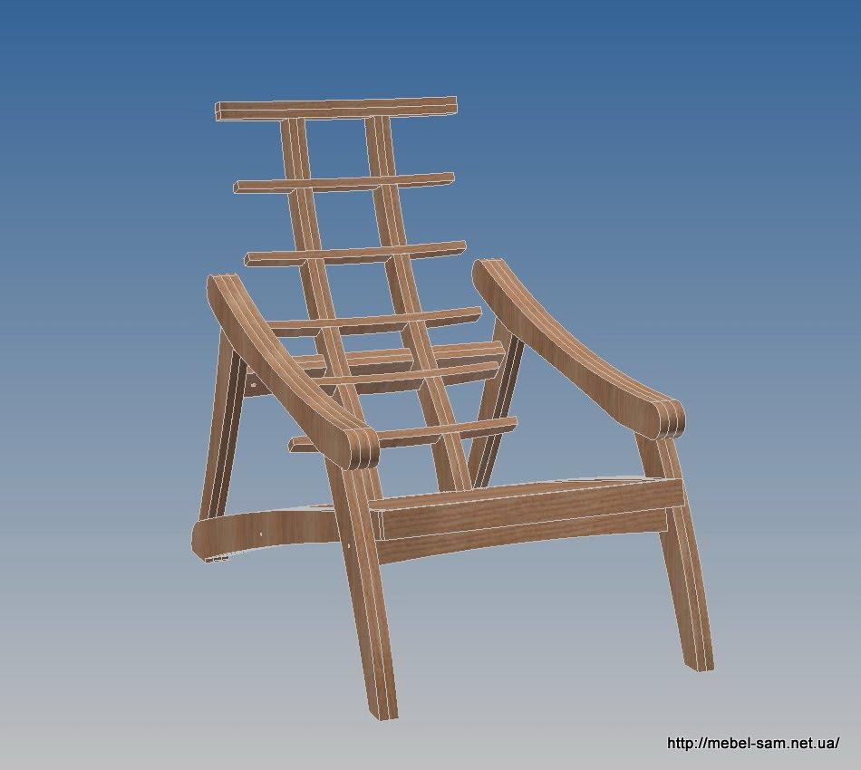 Общий вид кресла без матраса из фанеры