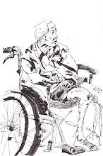 Photo: 滄桑2012.05.30鋼筆 這位行動不便的老收容人,不知他背後有什麼樣的故事…