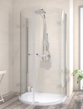 Paroi de douche demi-lune avec portes pivotantes-pliantes, rayon 55 cm