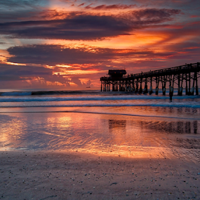 Beach Sunrise by Dave Files - Landscapes Sunsets & Sunrises ( florida, cocoa, pier, beach )