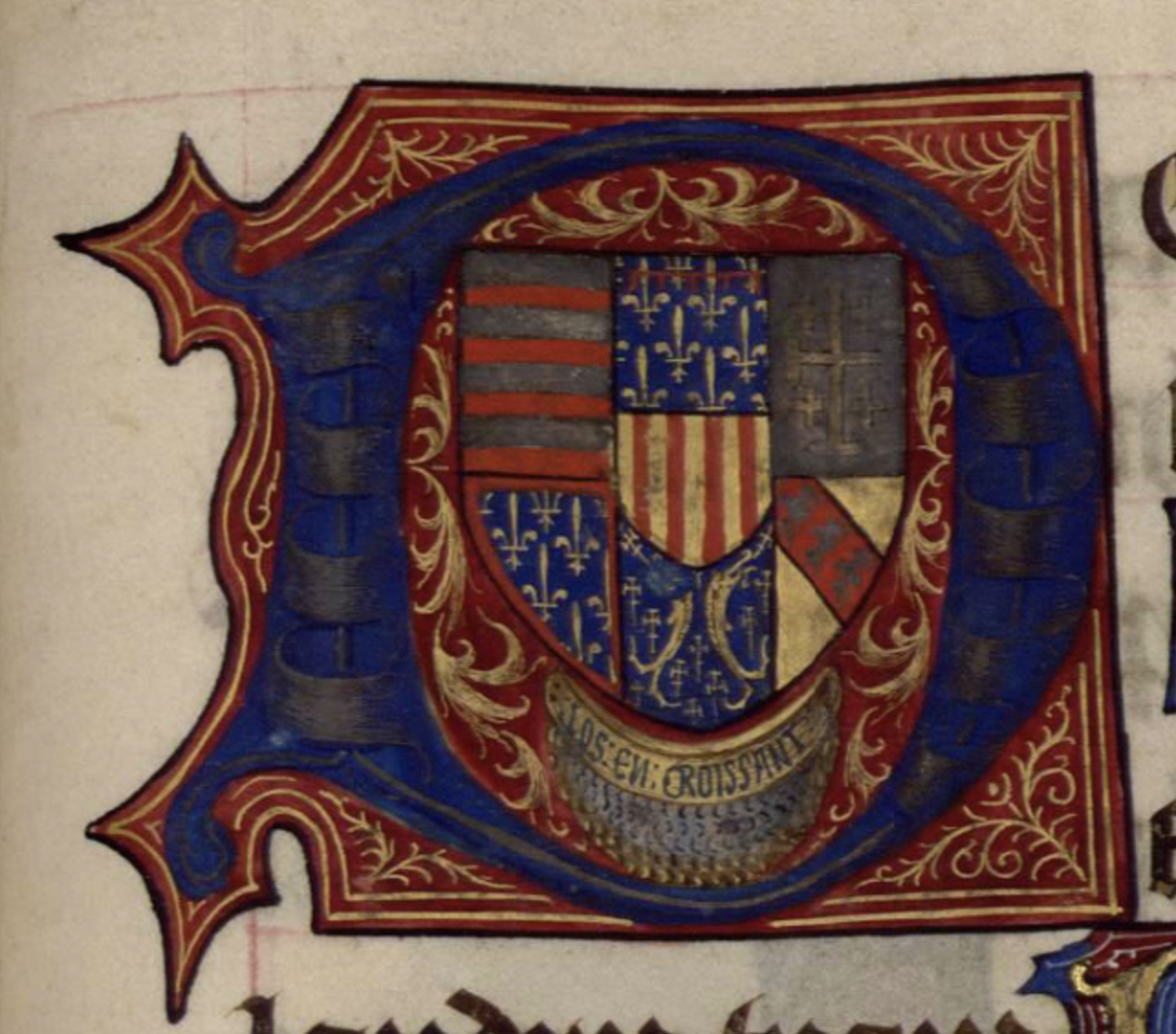 """A large champ initial 'D' containing the arms of Rene, as well as a small golden crescent symbol containing the words """"Los en Croissant"""""""