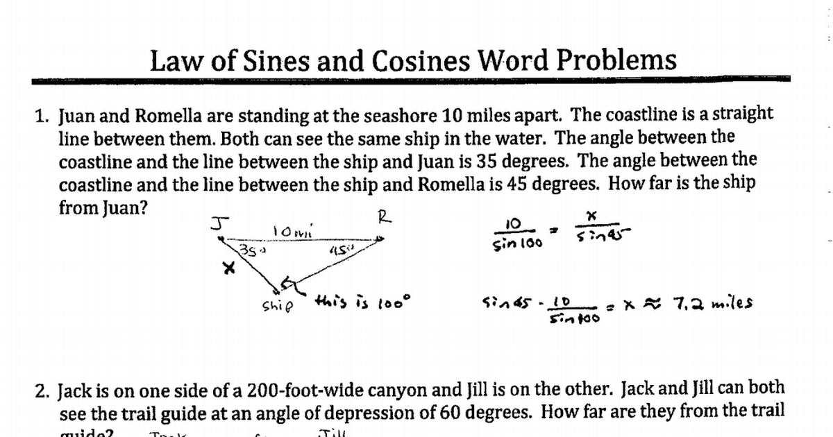 Law of Sines and Cosines Word Problems Worksheet Answer Key.pdf ...