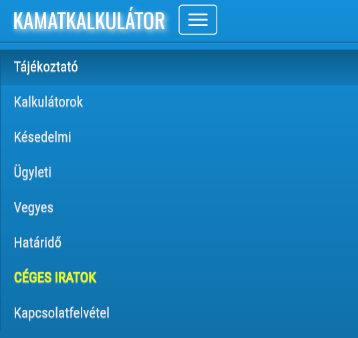 Kamatkalkulátor- screenshot