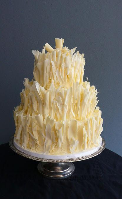 White Chocolate Wedding Cake with Shaved Chocolate Tiers