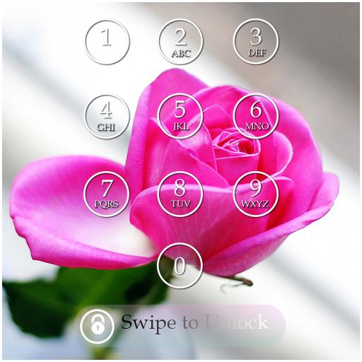 Pink Rose Lock Screen Theme