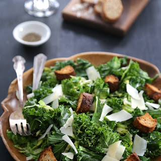 Warm Brussel Sprout and Kale Caesar Salad