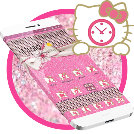 Pink Kitty Bowknot Glitter Theme