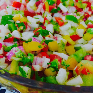 Crunchy Salad of Green Apple, Onions, Tomatoes, Radish, Brocolli, Cucumber & Peppers in a  Lemon  Sesame Oil Thyme Cilantro Dessing