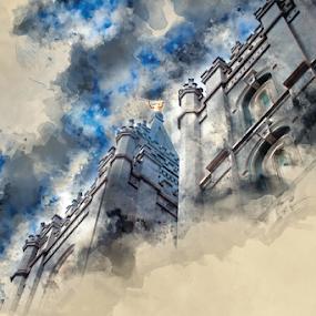 Salt Lake City UT LDS Temple Watercolor by Valerie Aebischer - Digital Art Places ( mormon temples, salt lake city lds temple, temples, mormon temple, lds temple, temple, lds, mormon, lds temples )