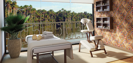 A look at Amazon Discovery's Rainforest Spa. Other amenities include a fitness room andan outdoor plunge pool.