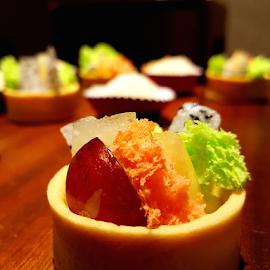 Fruit in Biscuit Basket by Andrew Hidayat - Food & Drink Fruits & Vegetables ( orange, dessert, mini, fruit, biscuit )