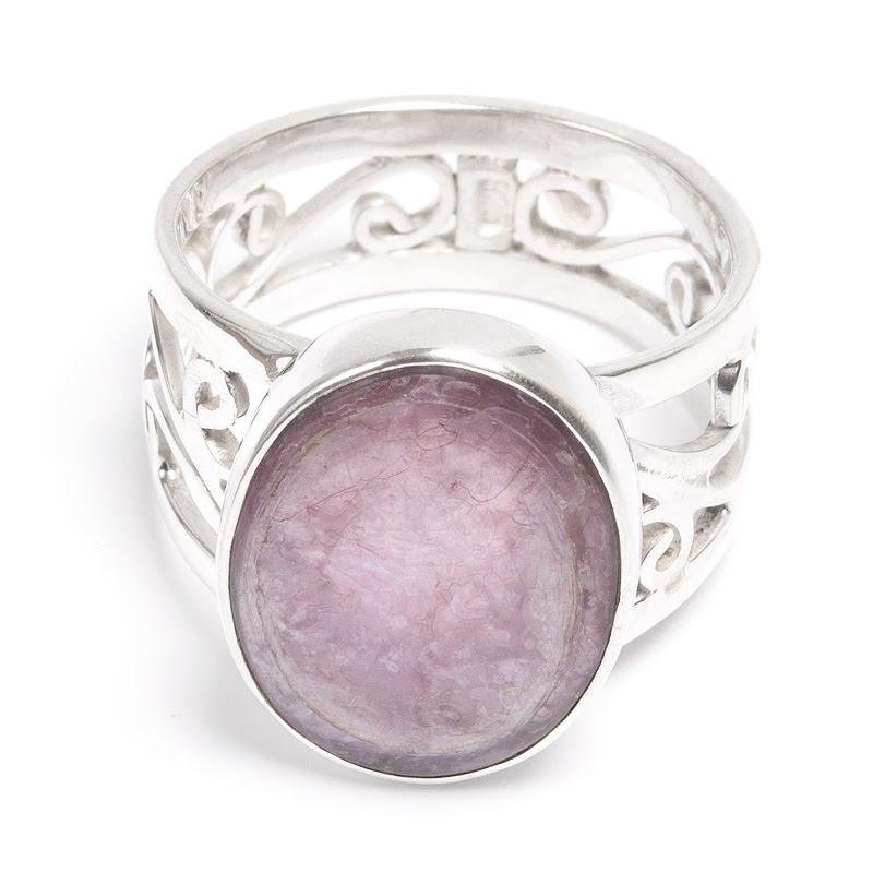Lepidolit, ring i silver med filigranband