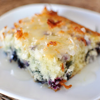 Blueberry Coconut Cake with Lemon Sauce.