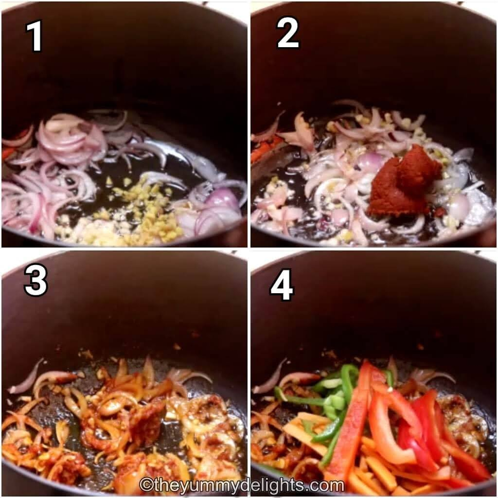 step by step images of stir-frying the onion, ginger, garlic and addtion of Thai red curry paste to make chicken soup.