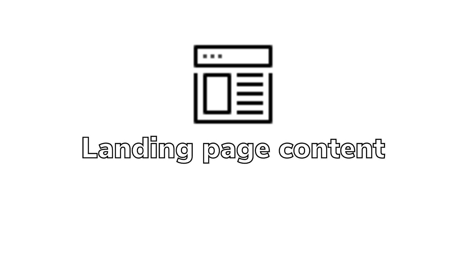 Landing page content: