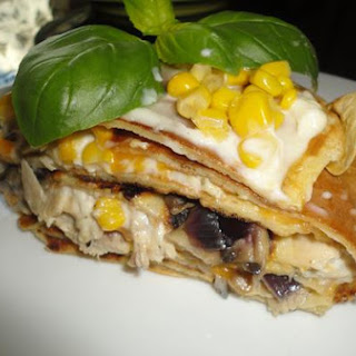 Chicken and Mushroom Pancake Cake