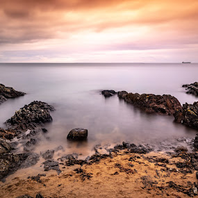 Helens bay by Danny Charge - Landscapes Waterscapes ( sky, orange, sand, seascape, waterscape, beach, belfast, long exposure, skyline, water, landscape, sea )